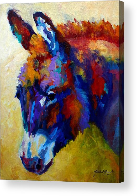 Western Acrylic Print featuring the painting Burro II by Marion Rose