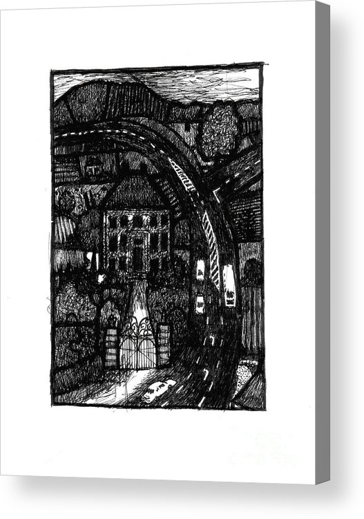 Bypass Acrylic Print featuring the drawing Bypass by Andy Mercer