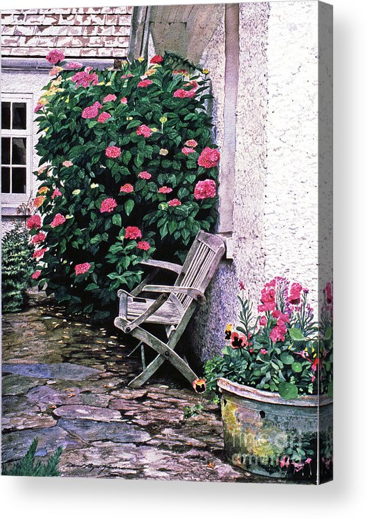 Gardens Acrylic Print featuring the painting California Hydrangea Cottage by David Lloyd Glover