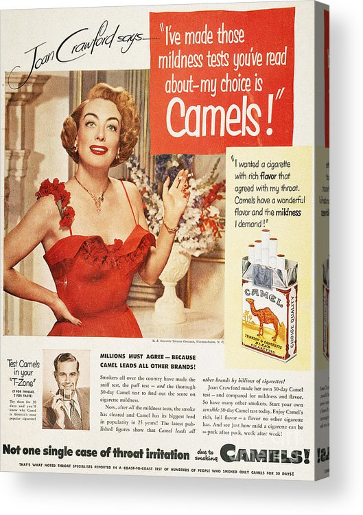 1951 Acrylic Print featuring the photograph Camel Cigarette Ad, 1951 by Granger