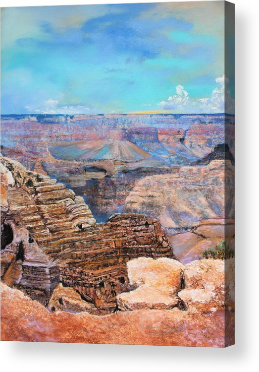 Landscape Acrylic Print featuring the painting Canyon Blues by M Diane Bonaparte