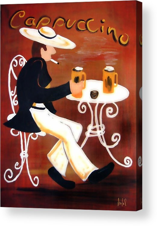 Cappuccino Acrylic Print featuring the painting Cappuccino by Helmut Rottler