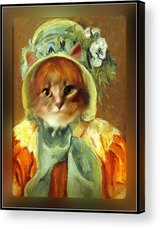 Cassatt Acrylic Print featuring the painting Cat In Bonnet by Gravityx9 Designs