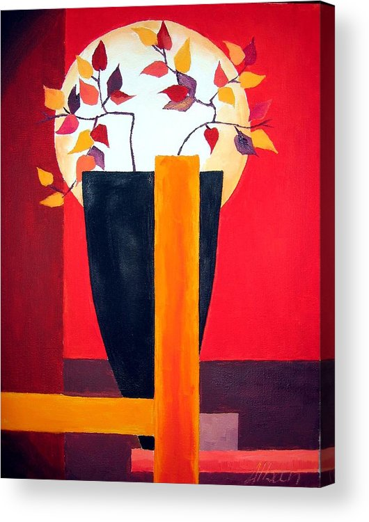 Flower Acrylic Print featuring the painting Chinese Flower On Vase by Alban Dizdari