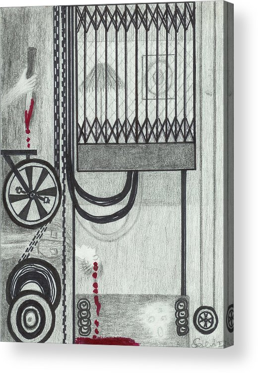 Elevator Acrylic Print featuring the drawing Claude Harvey's Death. by Ingrid Szabo