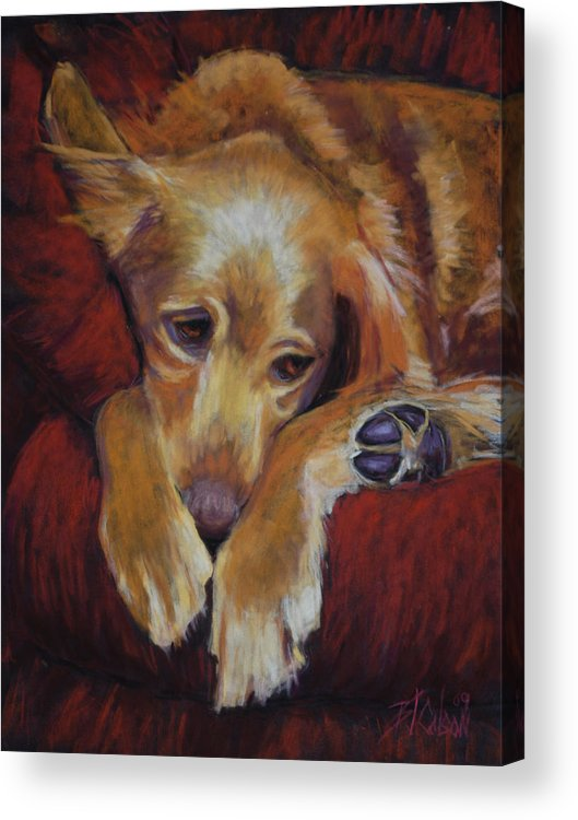 Sleeping Dog Acrylic Print featuring the painting Close To Dreamland by Billie Colson
