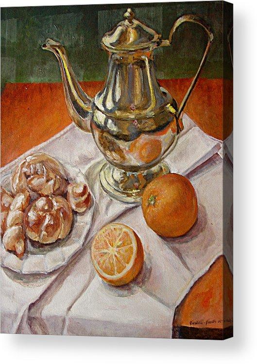 Continental Breakfast Acrylic Print featuring the painting Continental Breakfast by JoAnne Castelli-Castor