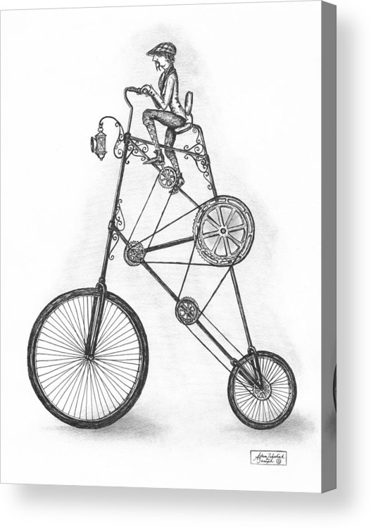 Pen & Ink Acrylic Print featuring the drawing Contraption by Adam Zebediah Joseph
