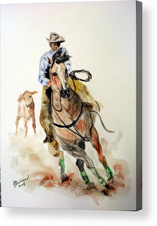 Cowboy Acrylic Print featuring the painting Cowboy by BJ Redmond