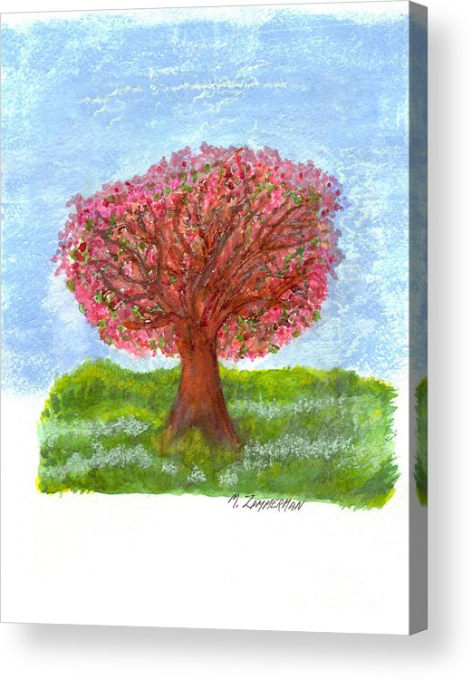 Tree Of Life Acrylic Print featuring the painting Cranberry Melody by Mary Zimmerman