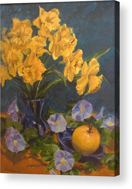 Still Life Acrylic Print featuring the painting Daffodils by Karen Ilari