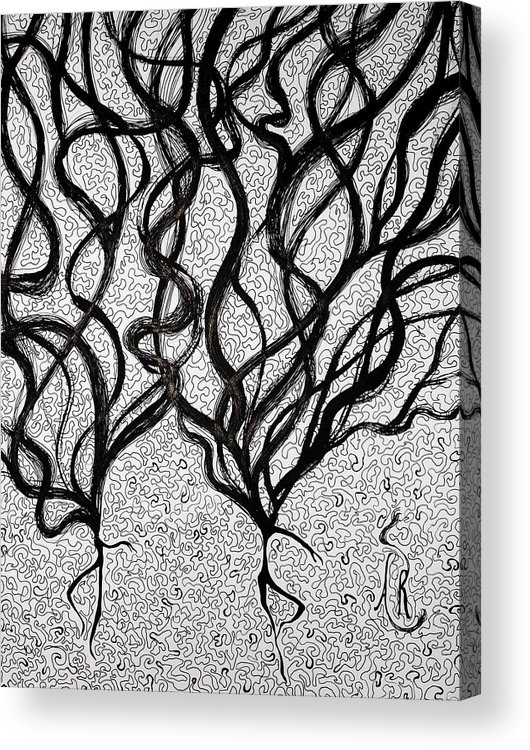 Dancing Acrylic Print featuring the drawing Dancing Hair by Andrea Realpe