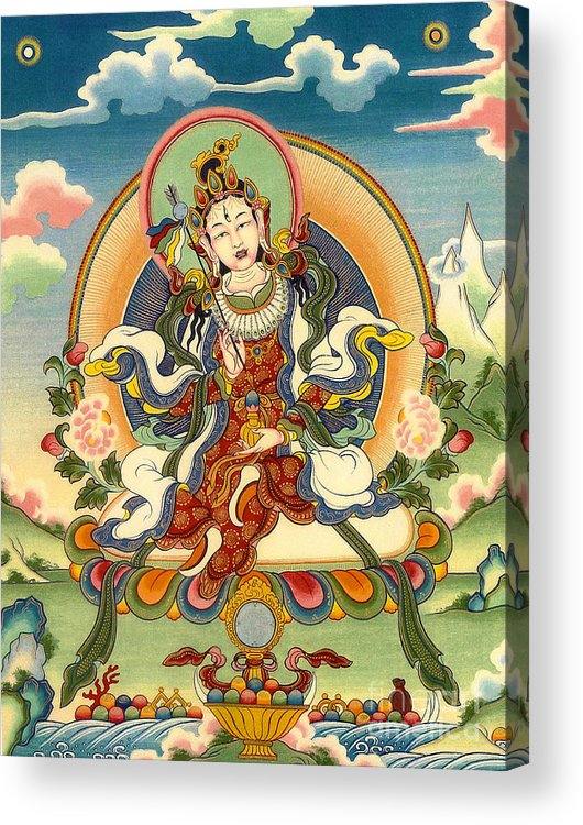 Thangka Acrylic Print featuring the painting Dorje Yudronma by Sergey Noskov