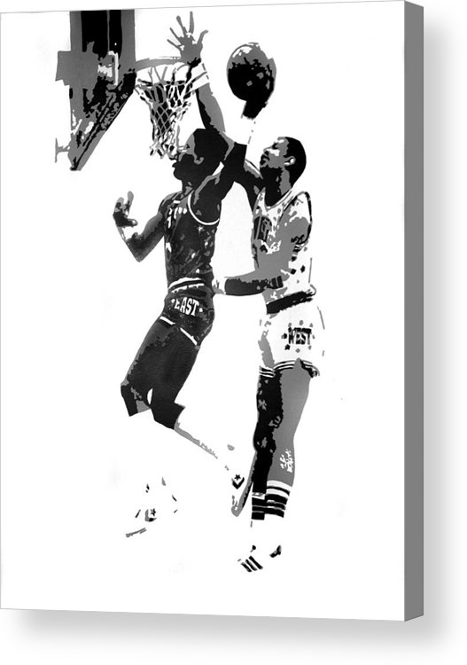 Basketball Acrylic Print featuring the painting Dr. J And Kareem by Ferrel Cordle