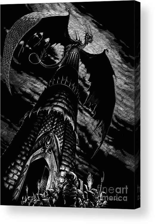 Dragon Acrylic Print featuring the drawing Dragon Tower by Stanley Morrison
