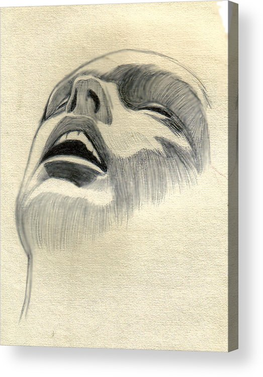 Drawing Acrylic Print featuring the drawing Meditating by Marco Morales