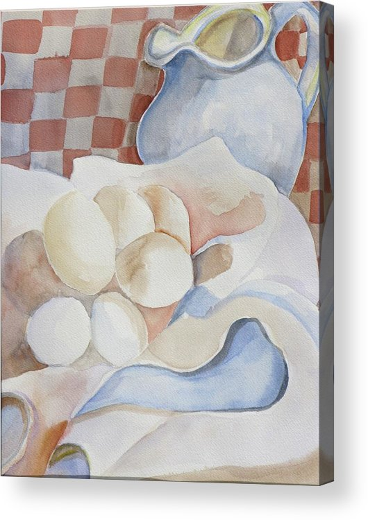 Still Life Acrylic Print featuring the painting Eggs With Pitcher by Kathy Mitchell