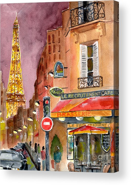Painting Acrylic Print featuring the painting Evening In Paris by Sheryl Heatherly Hawkins