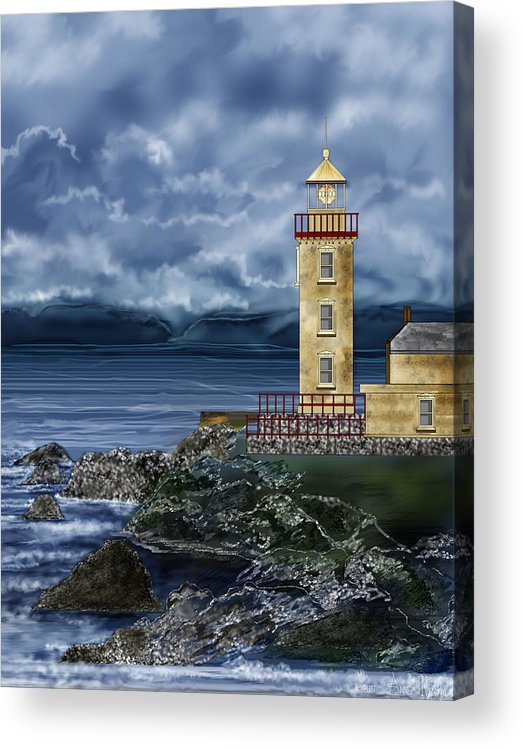 Lighthouse Acrylic Print featuring the painting Fanad Head Lighthouse Ireland by Anne Norskog