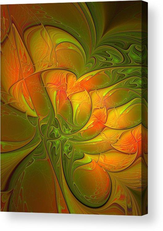 Digital Art Acrylic Print featuring the digital art Fiery Glow by Amanda Moore