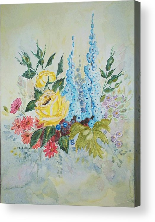 Roses Flowers Acrylic Print featuring the painting Flower Bouquet by Irenemaria Amoroso