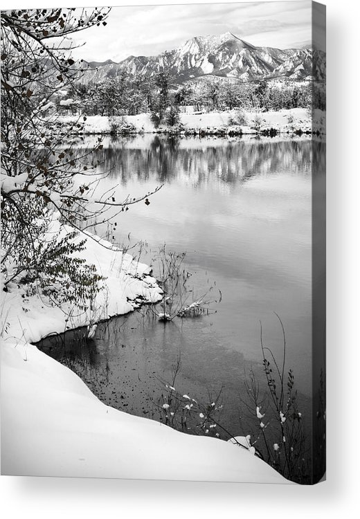 Colorado Acrylic Print featuring the photograph Frosty Flatirons by Marilyn Hunt