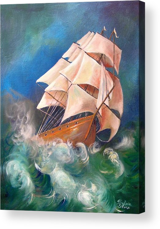 Sail Acrylic Print featuring the painting Full Blowm by Sylvia Stone