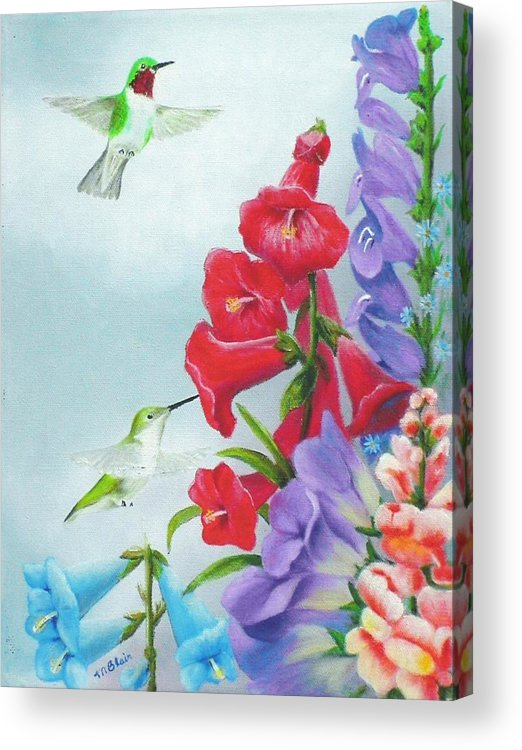 Birds Acrylic Print featuring the painting Garden Beauties by Merle Blair