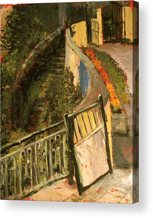 Gate Acrylic Print featuring the painting Gated Community by Art Nomad Sandra Hansen