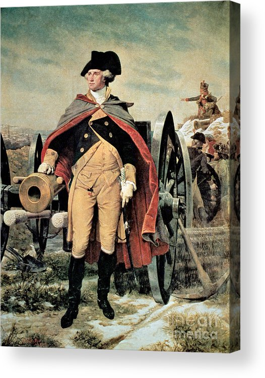 George Washington At Dorchester Heights Acrylic Print featuring the painting George Washington At Dorchester Heights by Emanuel Gottlieb Leutze