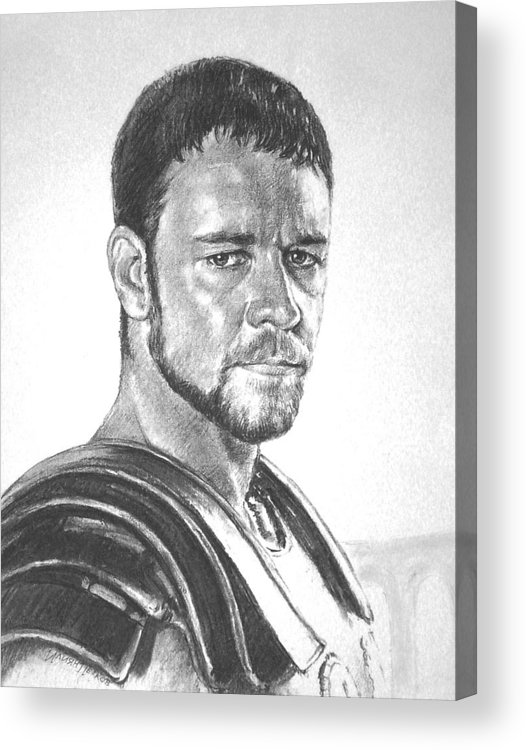 Portraits Acrylic Print featuring the drawing Gladiator by Iliyan Bozhanov