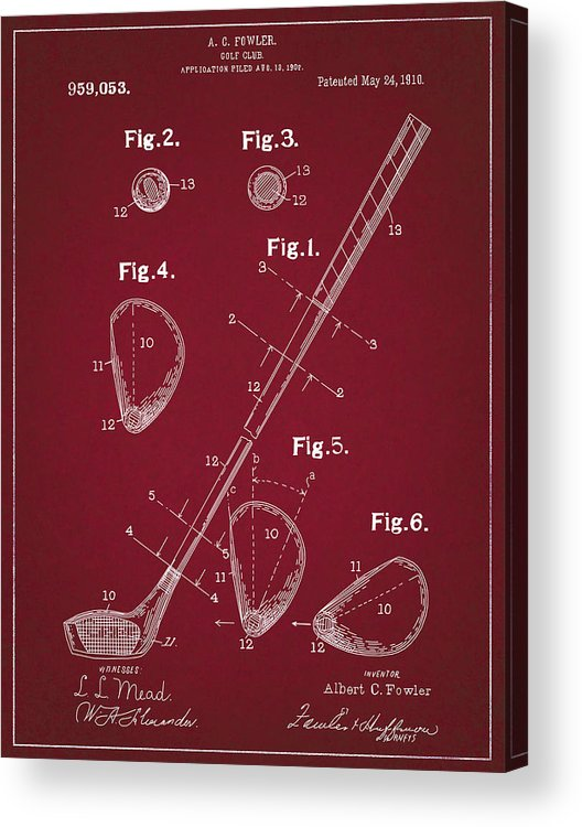 Golf Acrylic Print featuring the digital art Golf Club Patent Drawing Dark Red by Bekim Art