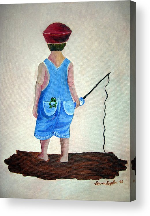 Fishing Acrylic Print featuring the painting Gone Fishing by Sharon Supplee