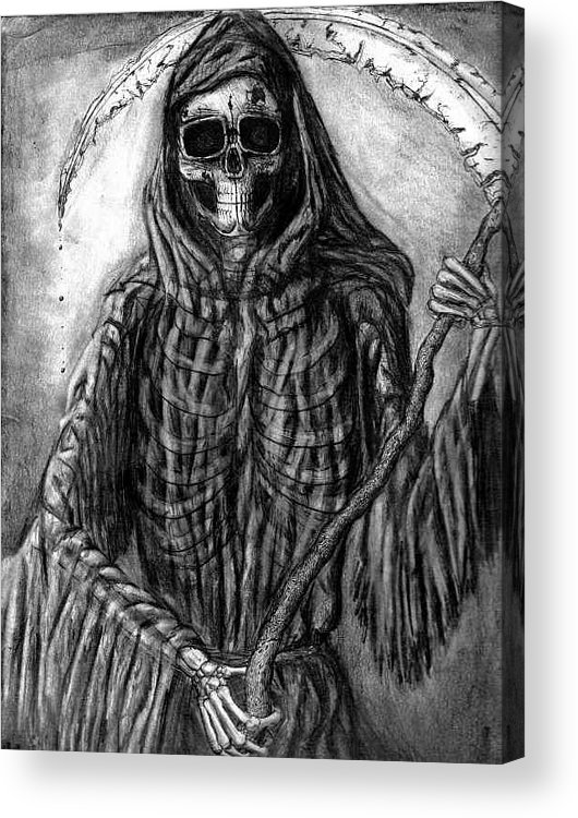 Grim Reaper Acrylic Print featuring the drawing Grim Reaper by Katie Alfonsi