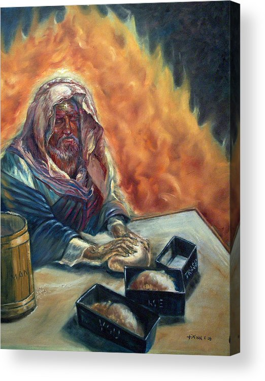 Jesus Acrylic Print featuring the painting He Don't Make No Trash by Tommy Winn