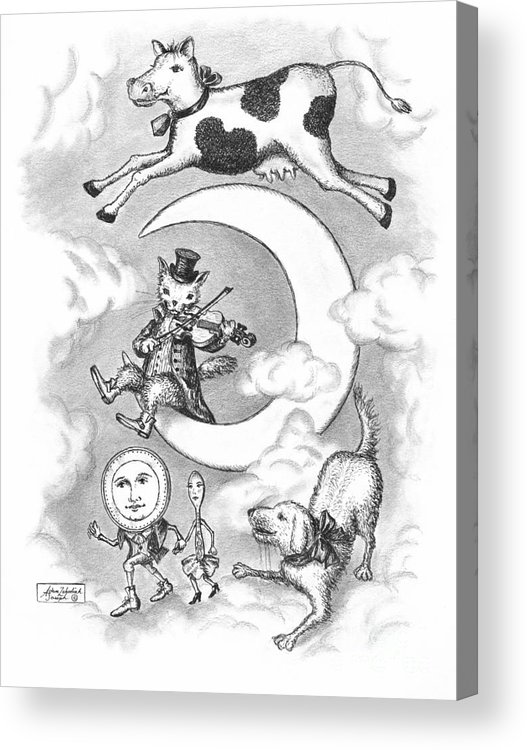 Art Acrylic Print featuring the drawing Hey Diddle Diddle by Adam Zebediah Joseph