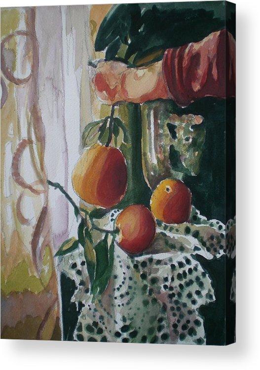 Still Life Acrylic Print featuring the painting Holding  An Orange by Aleksandra Buha