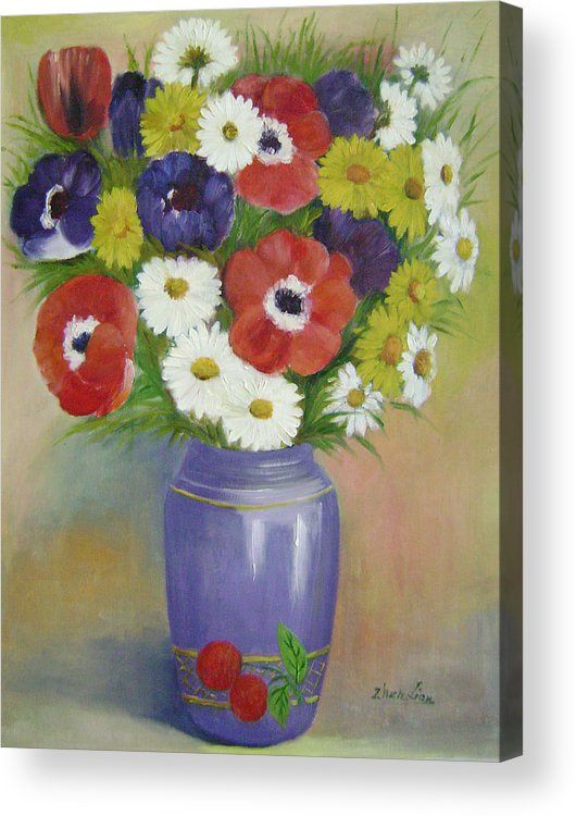 Floral Acrylic Print featuring the painting Holiday Flowers by Lian Zhen