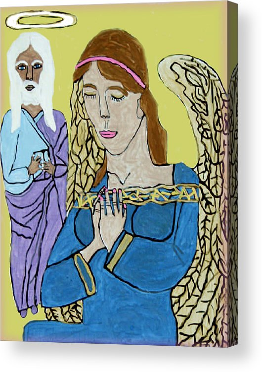 Holy Jesus Religion Christmas Season Acrylic Print featuring the painting Holy Jesus Praise The Lord by Betty Roberts