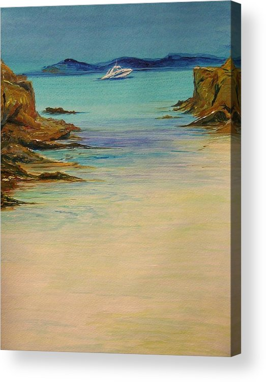 Seascape Original Painting Acrylic Print featuring the painting Ibiza In The Distance.... by Lizzy Forrester