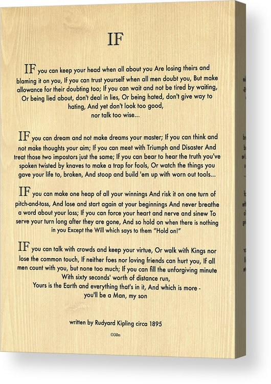 graphic relating to If by Rudyard Kipling Printable identify If Estimate By means of Rudyard Kipling Upon Wooden Panel Acrylic Print