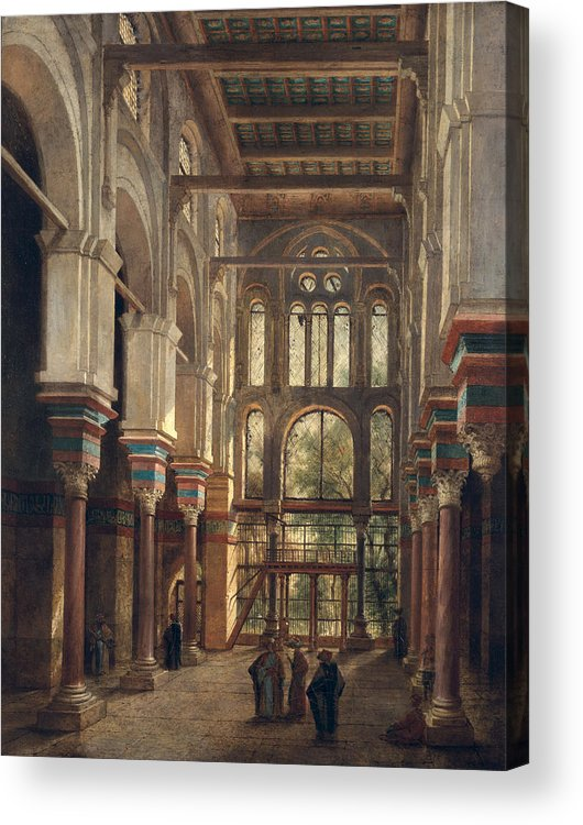 Interior Acrylic Print featuring the painting Interior Of The Mosque Of El Mooristan In Cairo by Adrien Dauzats