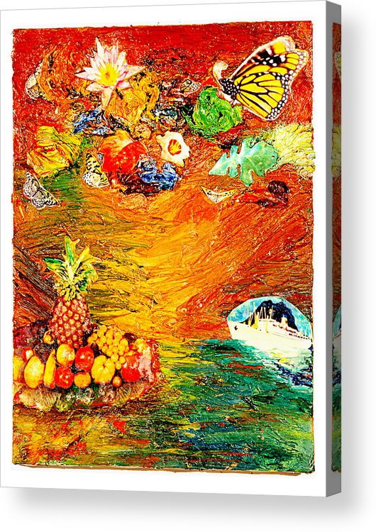 Collage Acrylic Print featuring the painting Island by Howard Goldberg