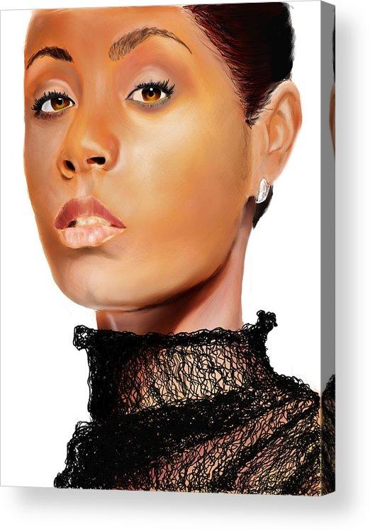 Acrylic Print featuring the digital art Jada Pinkett - Smith - 01 by Anthony Anthony ICONS