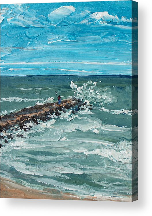 Seascape Acrylic Print featuring the painting Jersey Jetty by Pete Maier