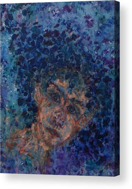 Elf Acrylic Print featuring the painting Jess In Blue by Cathy Minerva