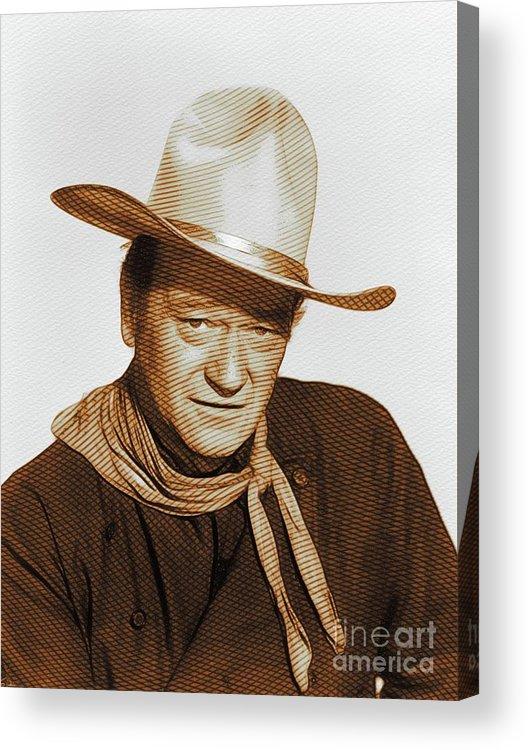 John Acrylic Print featuring the digital art John Wayne, Hollywood Legend by John Springfield