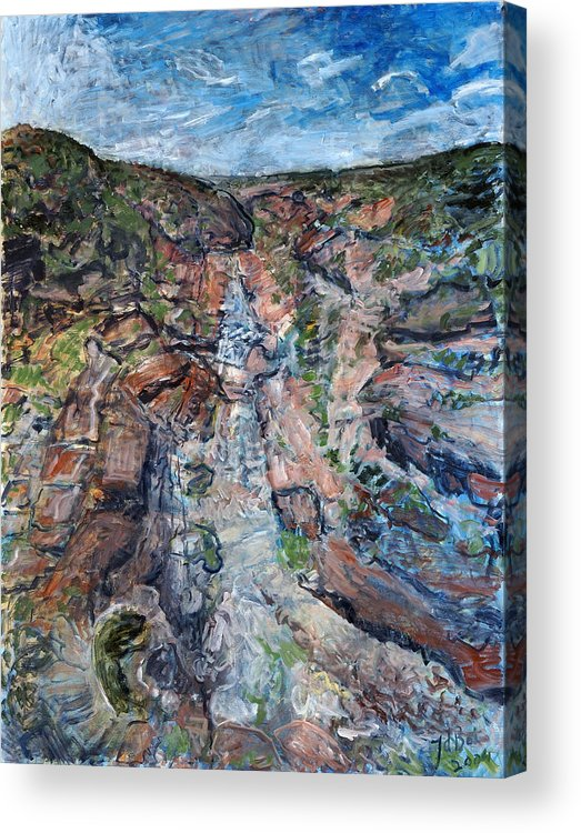 Gorge Acrylic Print featuring the painting Kalbarri Gorge by Joan De Bot