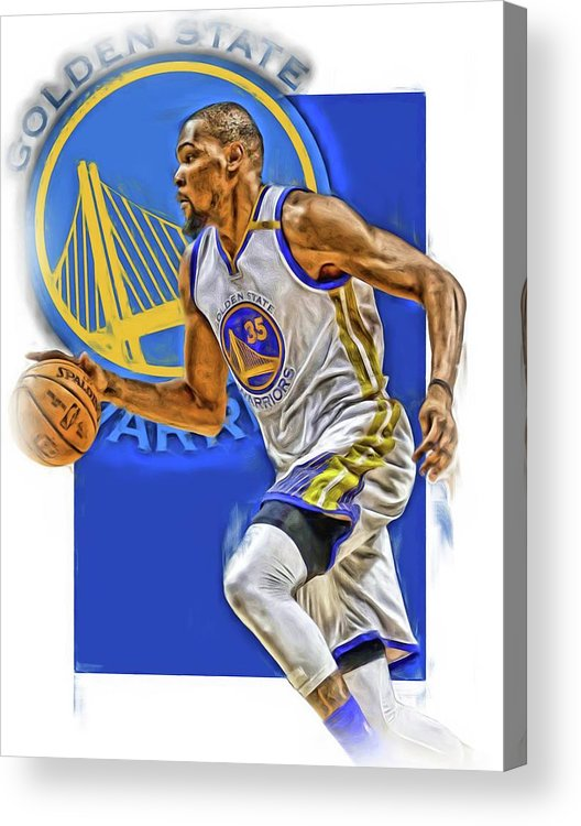Kevin Durant Acrylic Print featuring the mixed media Kevin Durant Golden State Warriors Oil Art by Joe Hamilton
