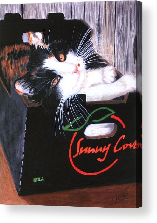 Kitty Acrylic Print featuring the painting Kitty In A Box by Lorraine Foster